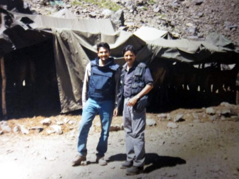 In Mushkoh Valley with Neelesh Misra of AP (left, in flak jacket).