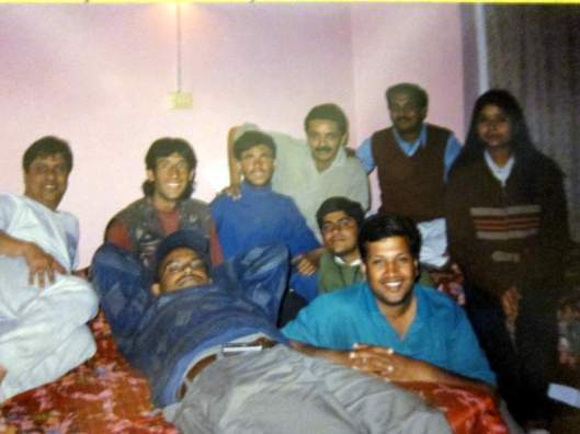 Jaffer, second from left, and Ali, beside him in blue turtleneck, with journalists in my room at Siachen Hotel