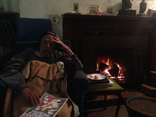 By his fireside in Sujan Singh Park, February 11, 2014