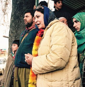 Asma, Sajjad Lone's wife, seeking votes in the Handwara countryside.