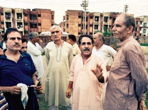 "Agitated Pandit migrants at the Jagti township near Jammu: ""We are actors of a forgotten tragedy."""