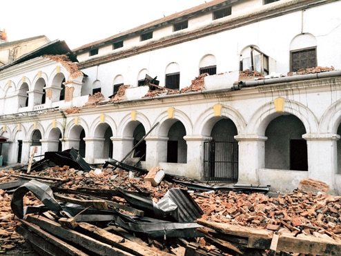 The quake-hit remains of the Gorkha Boys School at Rani Pokhari in central Kathmandu.